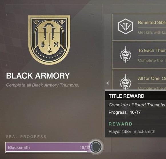 Blacksmith Triumph Seal | Black Armory | Sherpas of Destiny
